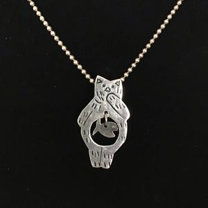 Sterling Kitty Cat Ate Fishie Dangle Necklace
